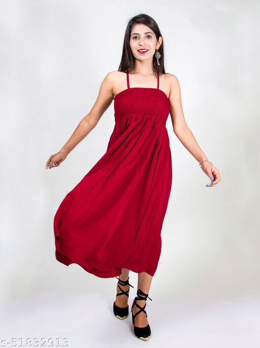 Trendy Maroon fit and flare dress