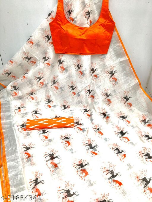 AANYAA Soft Chanderi Silk Printed Saree With 2 Blouses
