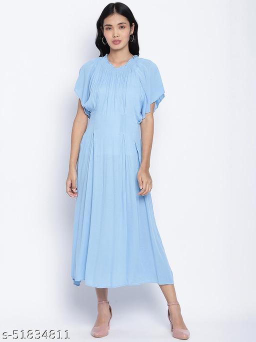 Ensholl Blubbee blue soild women dress