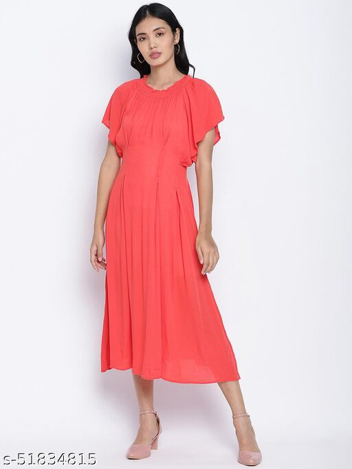Flamboyant Red solid women neck details dress