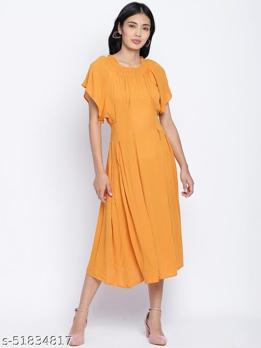 Sunflower hue solid women neck details dress