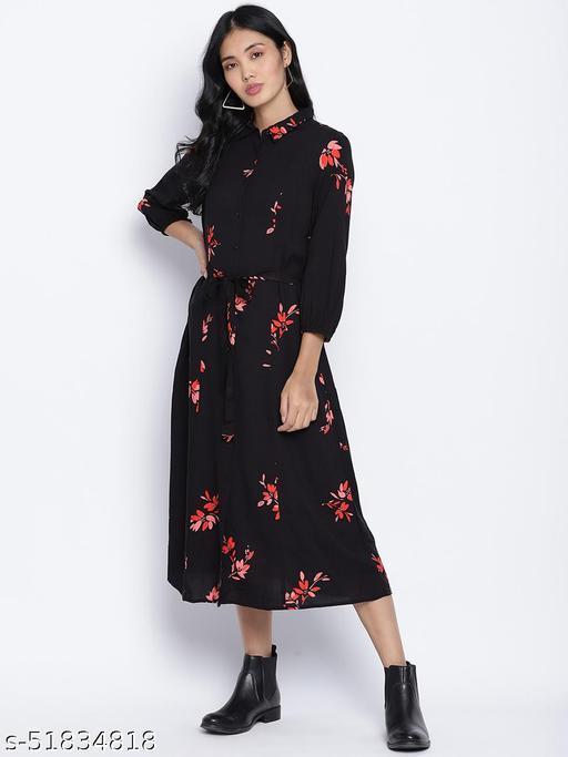 Alluring Black floral orint button down women dress