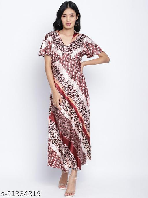 Saintly pure satin print women dress