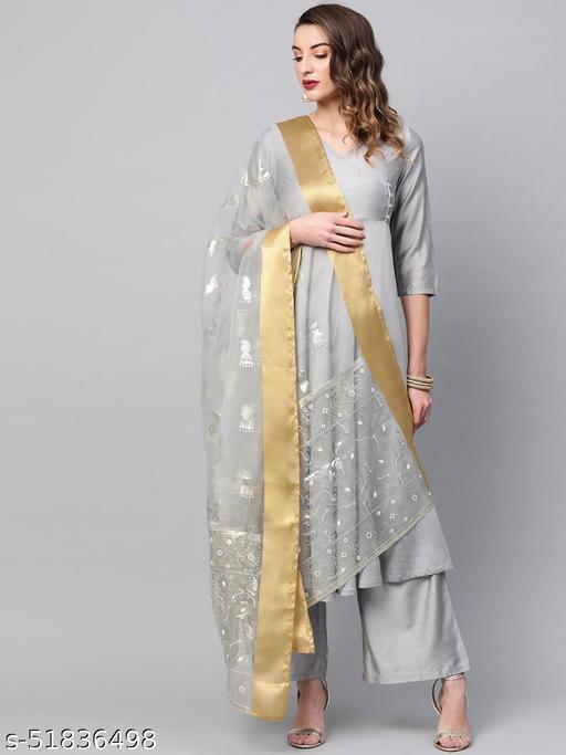 Grey Embellished Dupatta
