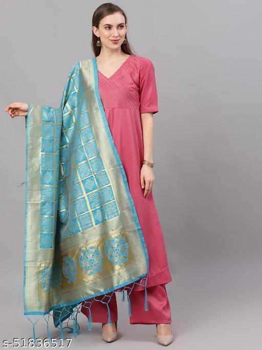 Turquoise Blue & Gold Zari Work Dupatta