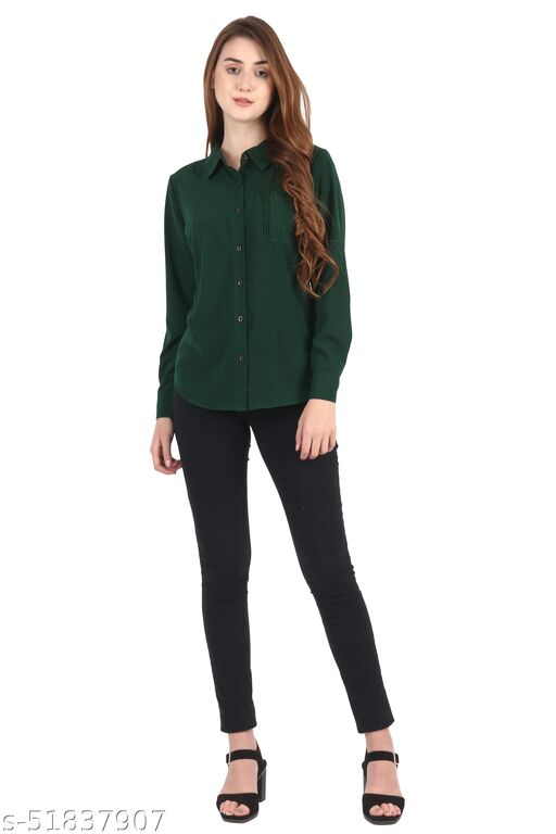 My Swag Women's Solid Casual Full Sleeve Green Shirt