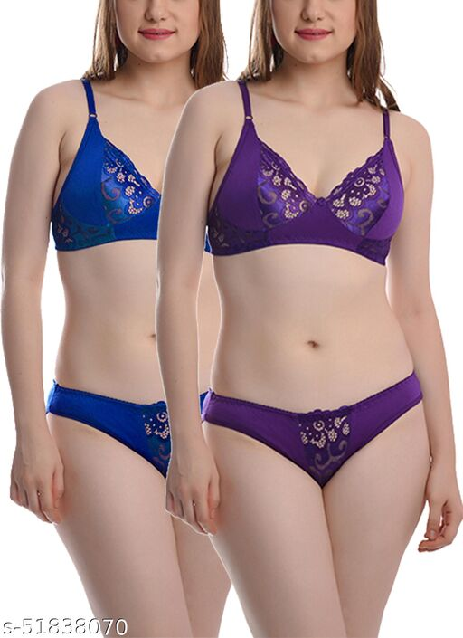 StyFun Soft Cotton Blend Bra Panty Set for Women, Non-Padded, Non-Wired, Seamed, Floral Print, Full Coverage, Lingerie Set, Blue Purple, Cup-B, Pack of 2,