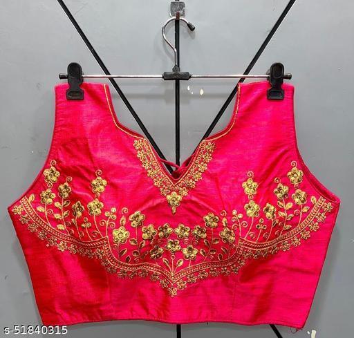 Vihu fashion's Latest Zari Embroidery Women Wear Sleeveless  Pink Readyade Blouse