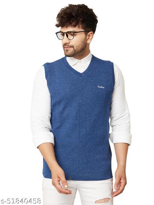 Kvetoo Men Sleeveless V Neck Sweater