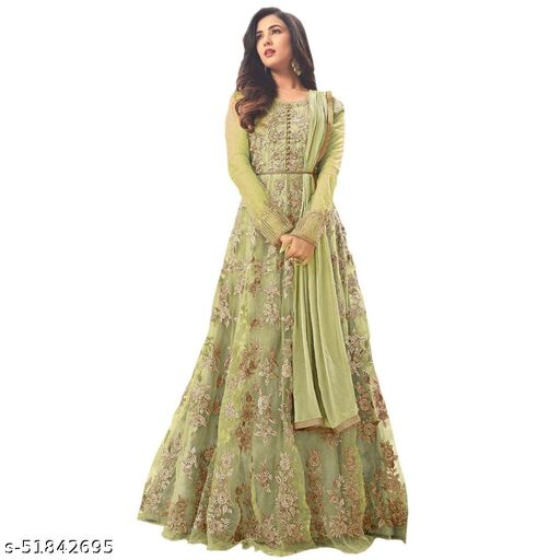 Net Semi Stitched Anarkali Gown