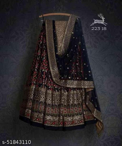 Black Colored Designer Partywear Embroidered Work Silk Material Lehenga Choli--lc208