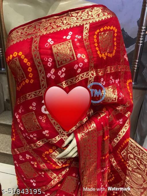 Bandhej ghadchola banarsi silk sarees with full heavy zari with running blouse