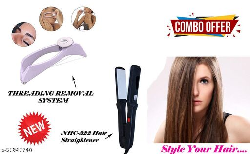 ARNAH TREASURE Combo Offer NEW Professional NHC-522 Hair Straightener WITH Eyebrow Threading Machine For Face and Body Hair Thread Removal System Tweezer Kit for Women