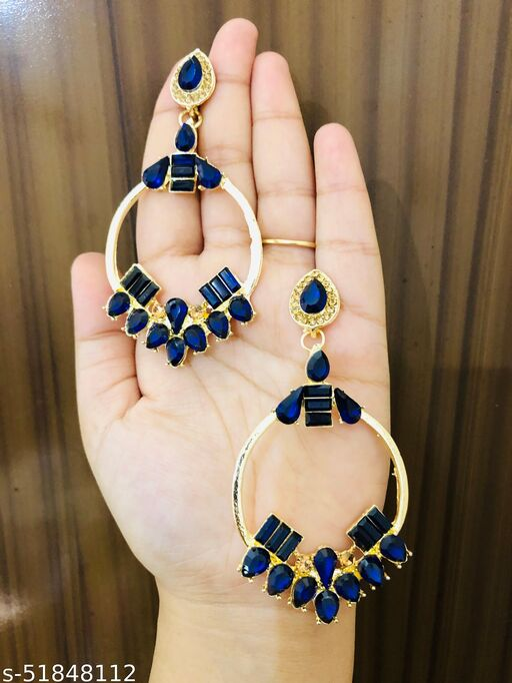 PREMIUM CRYSTAL ROUND HOOP ETHNIC FASHION JHUMKA EARRINGS  FOR GIRLS & WOMEN…