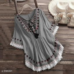 Women's Embroidered Grey Rayon Top