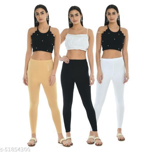 Women Gorgeous Solid Cotton Lycra Ankle Length Leggings