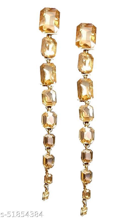 Fancy Long Golden Crystal Earings for Women and Girls