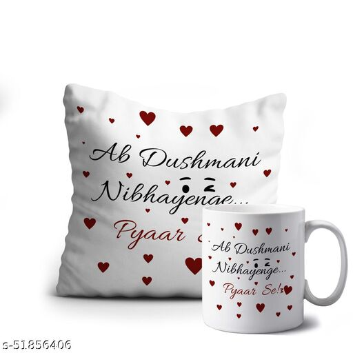 Crazy Corner Ab Dushmani Nibhayenge Pyar Se Printed Funny Hindi Quote Cushion And Mug Combo   Birthday Gift for Best Friend, Women, Men, Girls & Boys - A Friendship Day Gift   Birthday Gift Combo