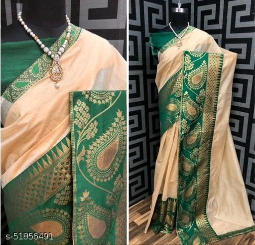 Fashion Lust Cream Color Chendari cotton Saree with Jacquard Blouse
