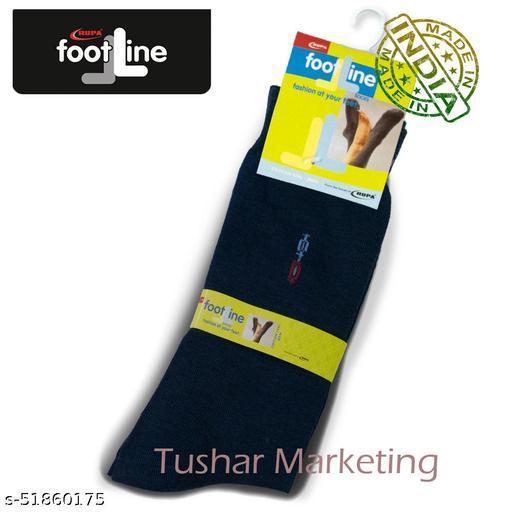 Rupa Footline Men's Cotton Calf Length Formal 1 Pair Socks SENOR Fline-1(39-SENOR-2032_NAVY)