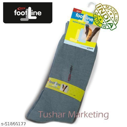 Rupa Footline Men's Cotton Calf Length Formal 1 Pair Socks SENOR Fline-1(38-SENOR-2032_GREY)