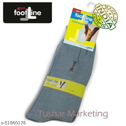 Rupa Footline Men's Cotton Calf Length Formal 1 Pair Socks SENOR Fline-1(33-SENOR-2013_GREY)