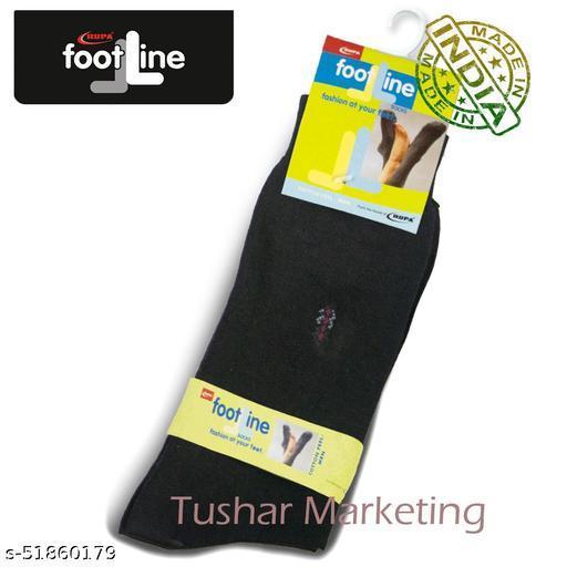 Rupa Footline Men's Cotton Calf Length Formal 1 Pair Socks|SENOR|Fline-1(73-SENOR-3007_BLACK)