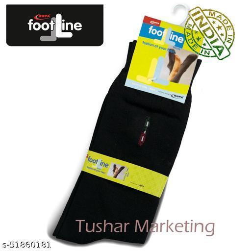 Rupa Footline Men's Cotton Calf Length Formal 1 Pair Socks SENOR Fline-1(36-SENOR-2032_BLACK)