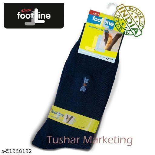 Rupa Footline Men's Cotton Calf Length Formal 1 Pair Socks SENOR Fline-1(34-SENOR-2013_NAVY)