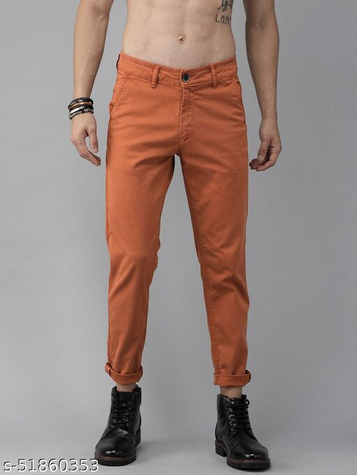 Slim Fit Men's Cotton Blend Chinos Trousers