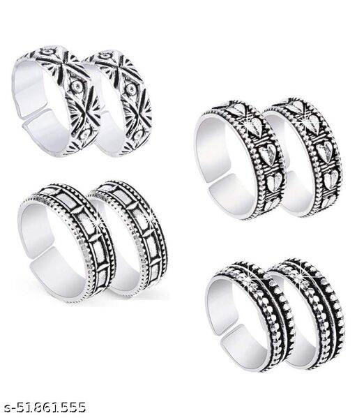 Silver Oxidized German Silver Toe Ring for Women and Girls (4 pcs combo)