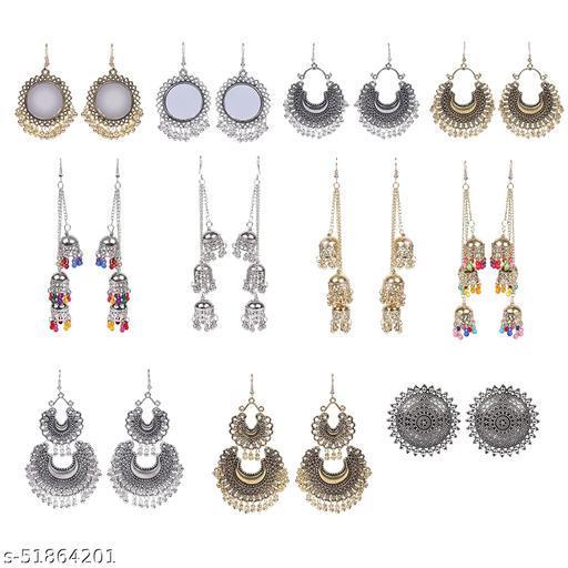 Dazzled Jewels Oxidized Earrings Includes Kashmiri Jhumki, Chandbali and Studs Earring Combo Set 9 for Women