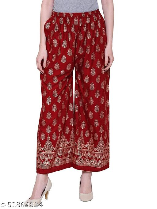 Women's Rayon Foil Print Palazzo(Red)Pack of-1