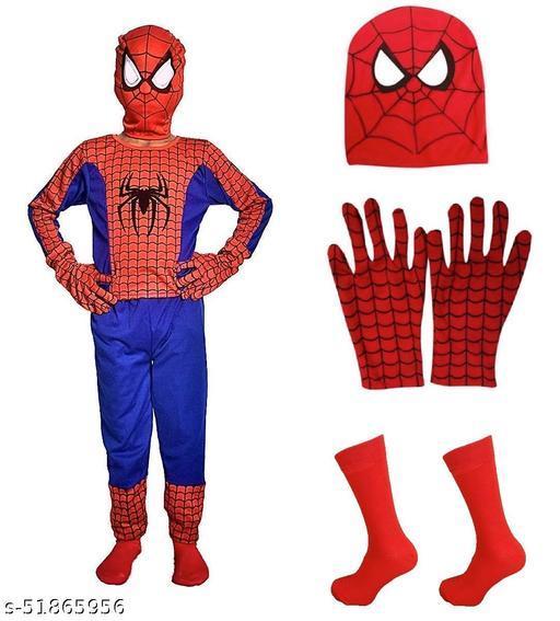 ABE super Hero Spider Man Dress for Kids Set of 4 (Costume,Gloves,Mask,Socks)