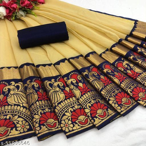 PD Fashion Cream Color Chendari cotton Saree with Jacquard Blouse