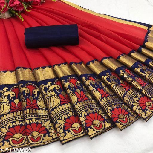 Fashion Lust Red Color Chendari cotton Saree with Jacquard Blouse