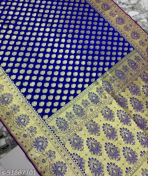 (21Blue) Fabulous Banarsi Silk Saree for Specially Weddings