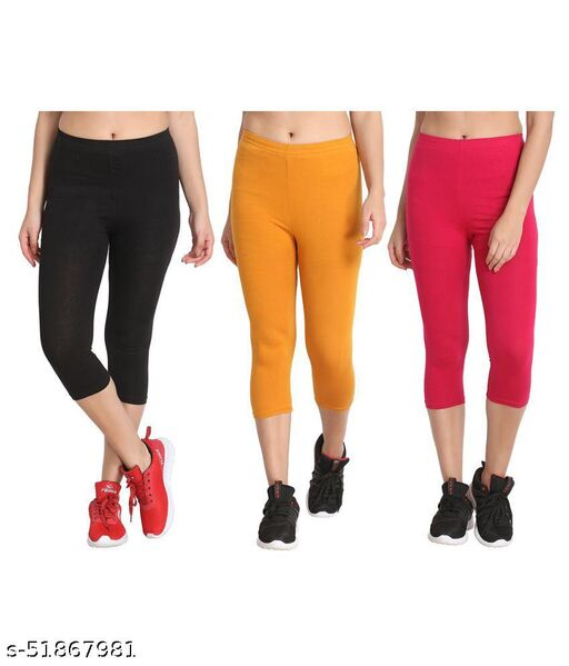 Zunaira Capris for womens/Girls 3/4 leggings for women capri of women combo of 3