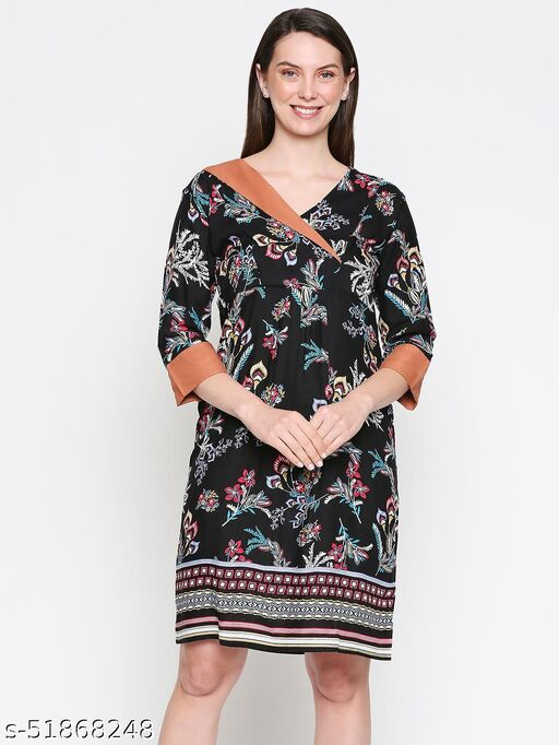 inocenCia Women's Black Floral Printed Shirt Dress