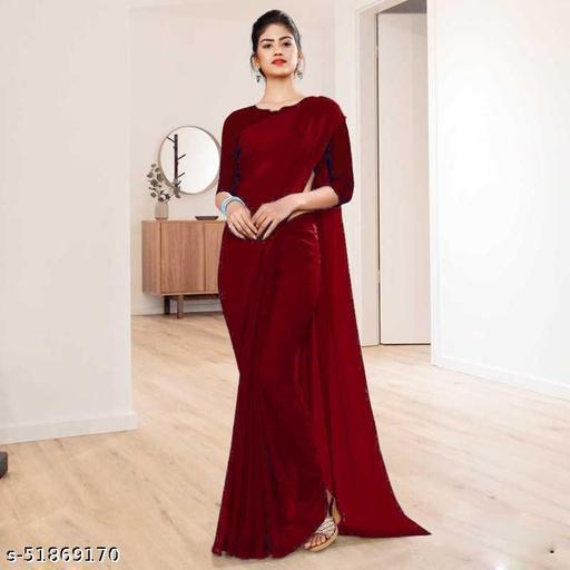 Women's Plain Weave Georgette Saree with Unstiched Blouse Piece