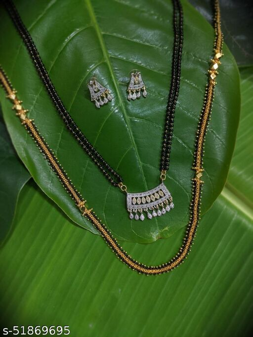 Combo offer (set of 2) Long Mangalsutras Designs Set with Diamond Earrings South Indian & Maharashtrian Style Gold Plated Black Gold Beads New Mangalsutras Designs For Women (27 Inches)