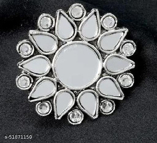 Klenot Flower Shape Silver Oxidised Mirror Ring