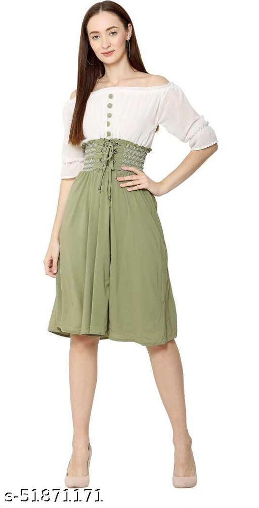 Jaaz Stylish Beautiful Trendy Olive Green Dress