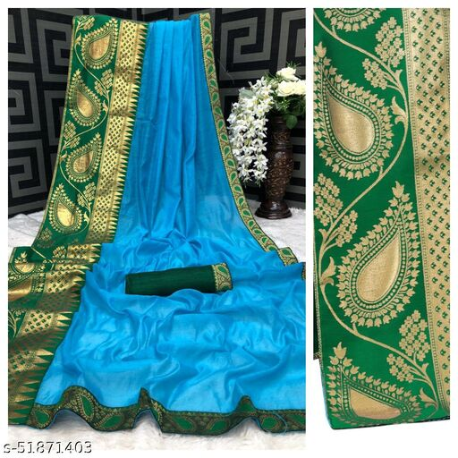 PD Fashion Sky Color Chendari cotton Saree with Jacquard Blouse