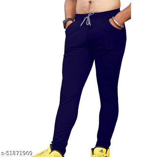 Mens Blue Color 4 Way Lycra Yoga Wear Comfortable Track