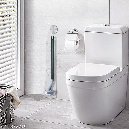 Golf Silicon Toilet Brush with Slim No-Slip Long Handle, Flex Toilet Brush Anti-drip Set, 360 Deep Golf Head Brush Toilet Bowl Cleaner Brush, Golf Toilet Brushes for Bathroom Cleaning Brush