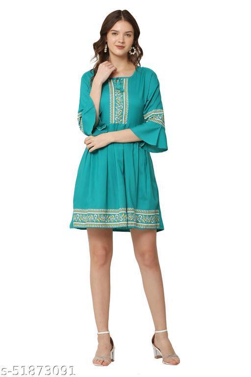 Trendy Turquoise Color Midi Dress