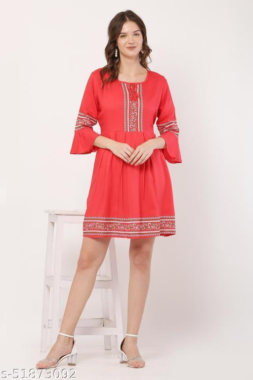 Trendy Peach Color Midi Dress