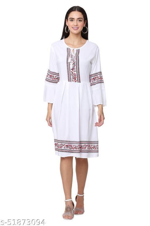 Trendy White Color Midi Dress