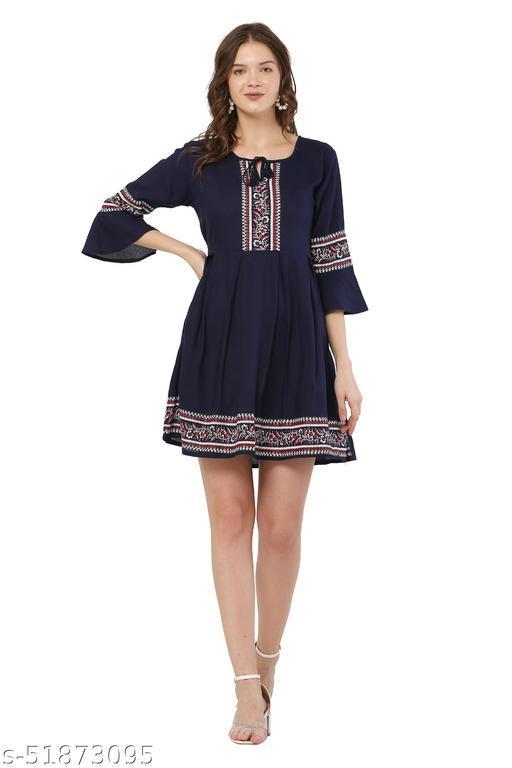 Trendy Navy Blue Color Midi Dress